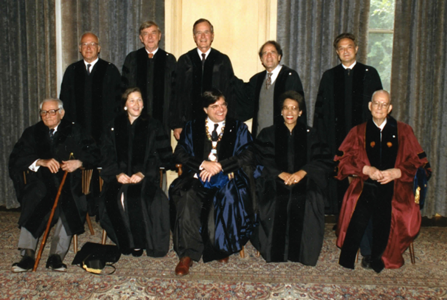 W. Edwards Deming receives honorary degree from Yale University, 1991